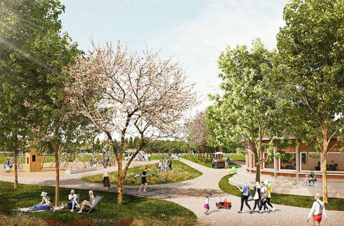 Blick von der Badstraße auf das künfti...ns LGS-Gelände integriert werden soll.  | Foto: Filon Architekturvisualisierung & Bild...lei / Helleckes landschaftsarchitektur