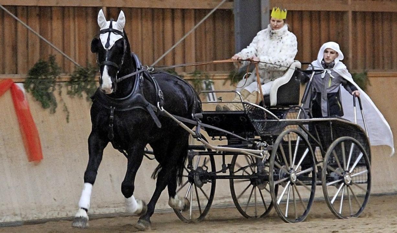 Carolin Güthlin hält als Schneekönigin...mit der Kutsche in die Reithalle ein.   | Foto: Reiterverein Lörrach