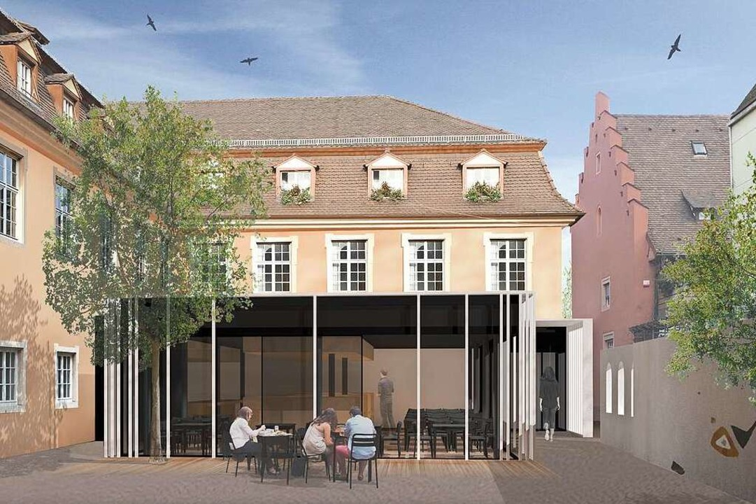 So soll die Gaststätte samt Glaspavill...h dem Umbau aussehen (Visualisierung).  | Foto: Sandhaus Architekten