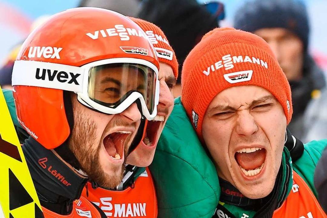 Stephan Leyhe (rechts) nach dem Sieg m...er WM 2019 im österreichischen Seefeld    Foto: Hendrik Schmidt