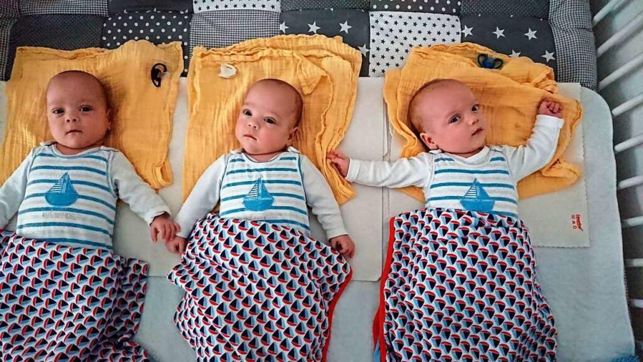 Joshua, Felix und Moritz (von links) als Säuglinge  | Foto: privat