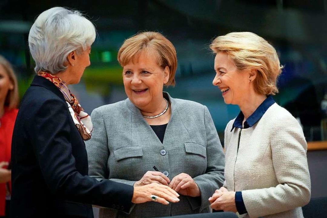 Frauen in zentralen Positionen: Christ...f dem EU-Gipfel im Dezember in Brüssel  | Foto: Pool, Daina Le Lardic (dpa)