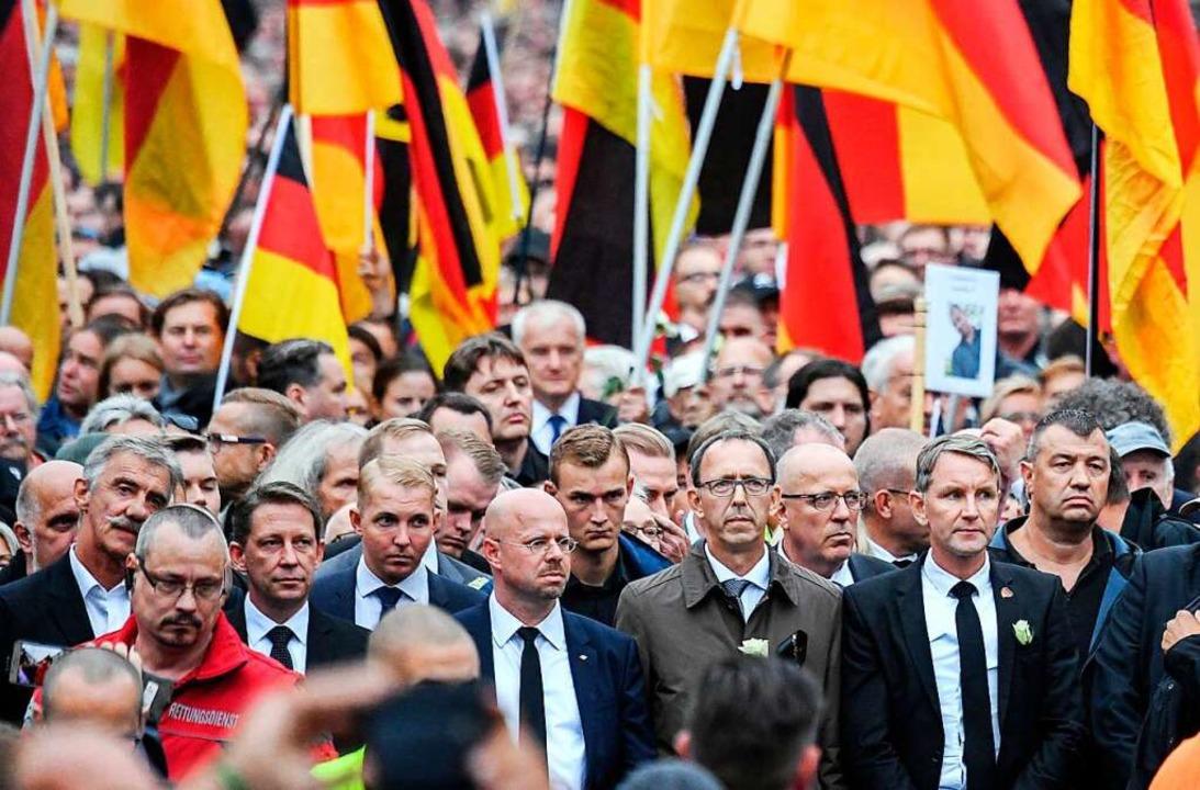 """""""Deutschland den Deutschen"""": AfD-Demonstration in Chemnitz 2018    Foto: Ralf Hirschberger"""
