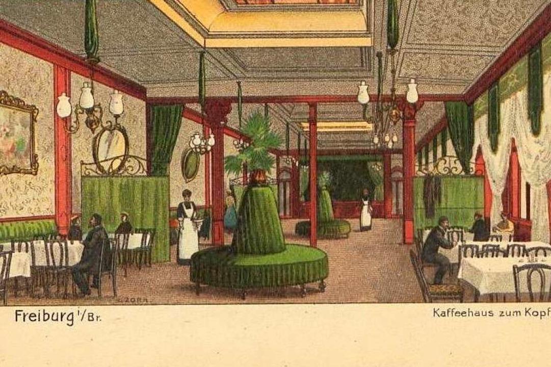Etwas &#8222;plüschiger&#8220; <NurPri...e Zeichnung des Kaffeehaus-Innenraums.  | Foto: Archiv Hans-Jürgen Oehler