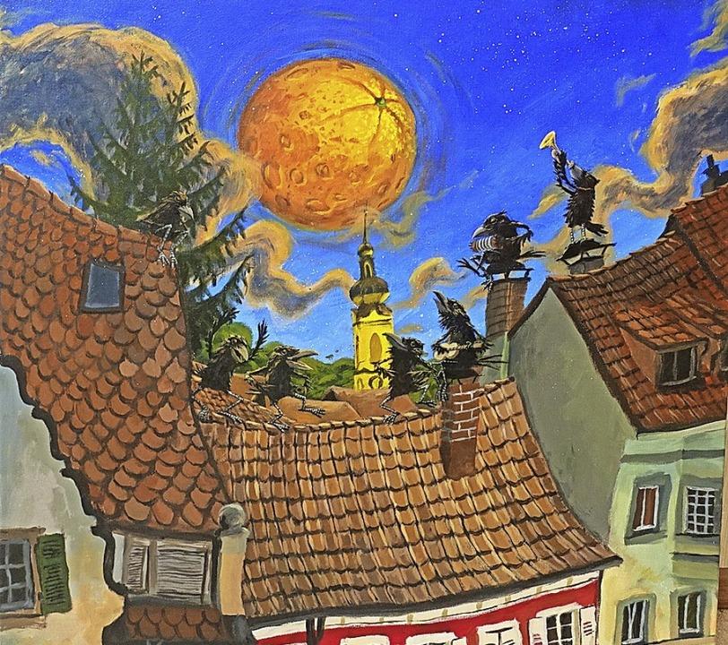 """""""Orangen über Wehr"""" heißt ...ck auf die Dächerlandschaft der Stadt.    Foto: Roswitha Frey"""