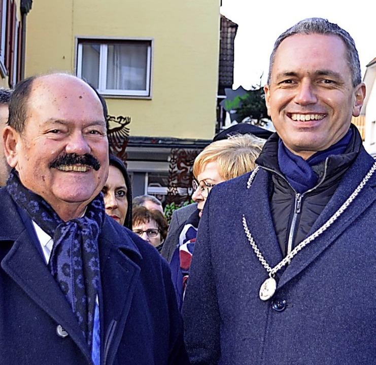 Bürgermeister Günter Pfundstein (rechts) und Hans-Peter Wagner    Foto: hrö