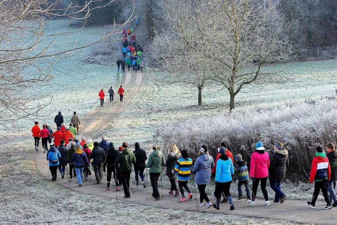 Ein buntes Band aus Läufern wand sich ...e winterliche Landschaft bei Hofweier.    Foto: Bettina Schaller