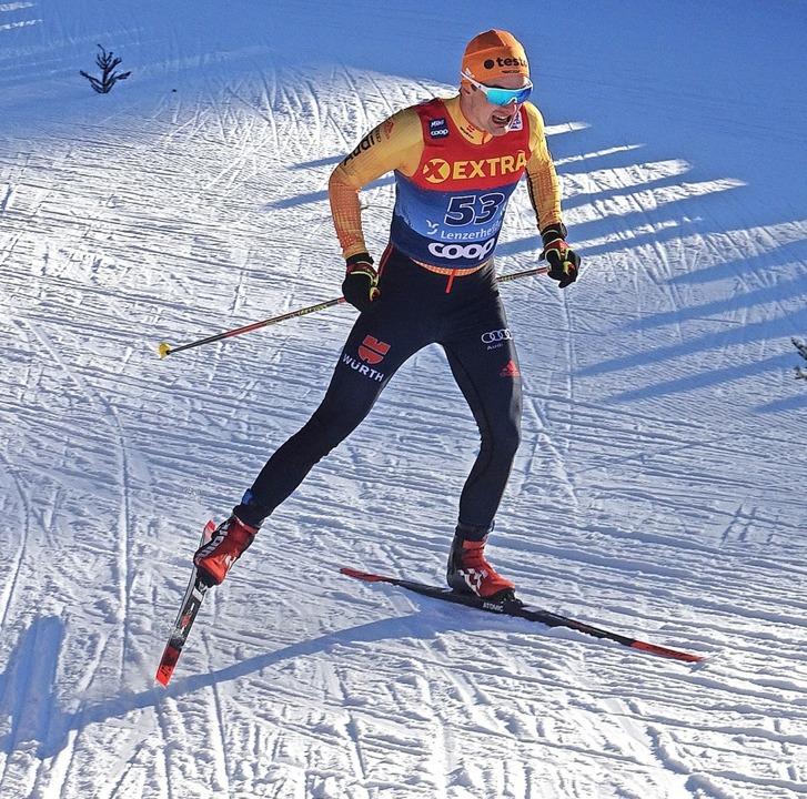 Janosch Brugger (hier beim Sprint in L...lrennen in Toblach auf dem 37. Platz.   | Foto: Brugger