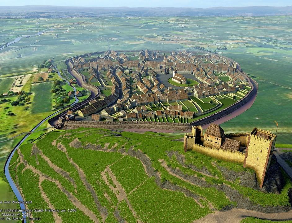 Burg, Kirche und Stadtmauer: So könnte...nach seiner Gründung ausgesehen haben.  | Foto: Hans-Jürgen van Akkeren