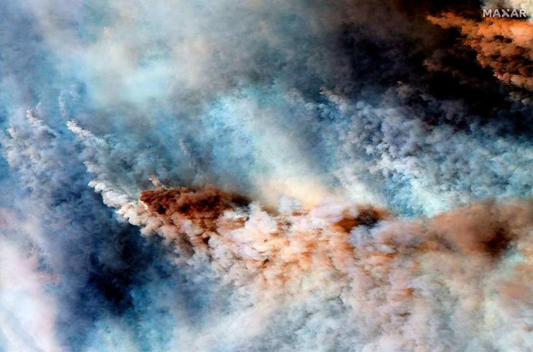 Satellitenaufnahme der Buschbrände in Australien.    Foto: HO (AFP)