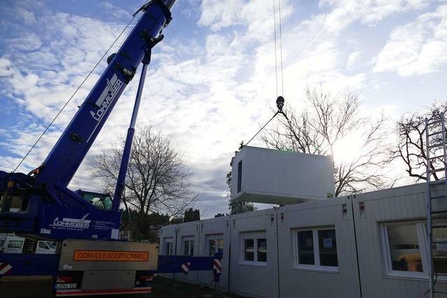 Die ehemalige Wohnanlage für Geflüchtete in Schopfheim wird abgebaut