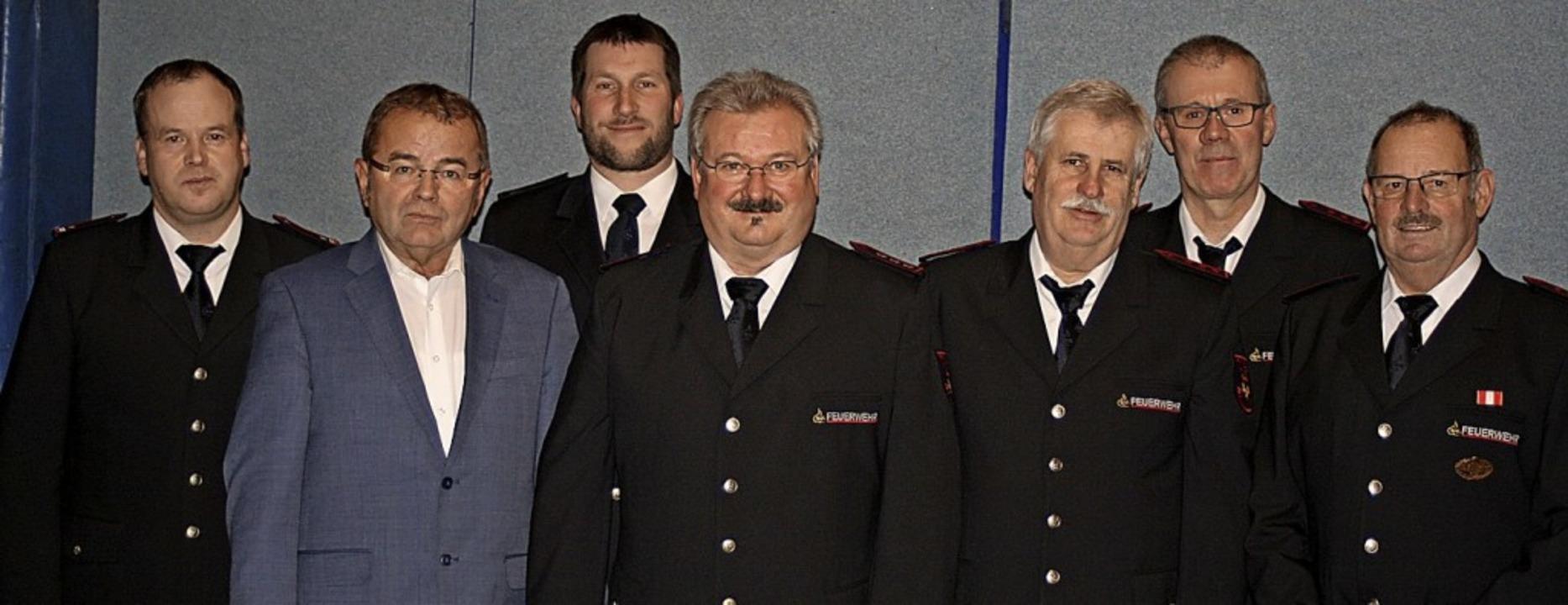 Abteilungskommandant Thomas Sütterlin,...h Greßlin und Kurt Braun (von links).     Foto: Ines Bode