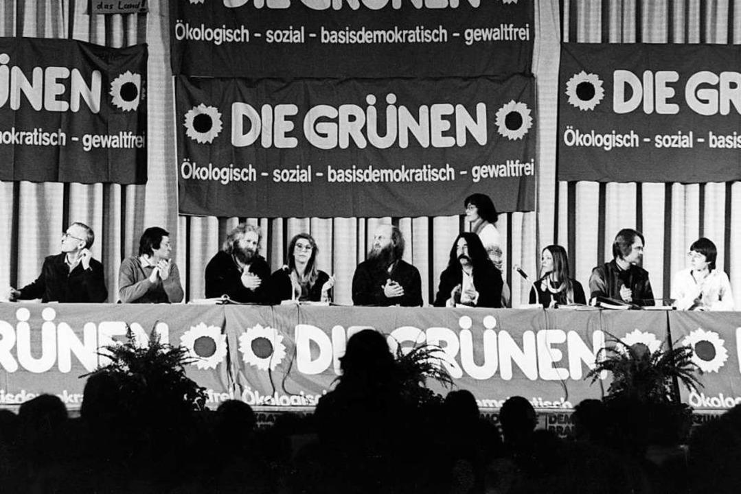 Der Gründungsparteitag der Grünen in Karlsruhe 1980     Foto: dpa
