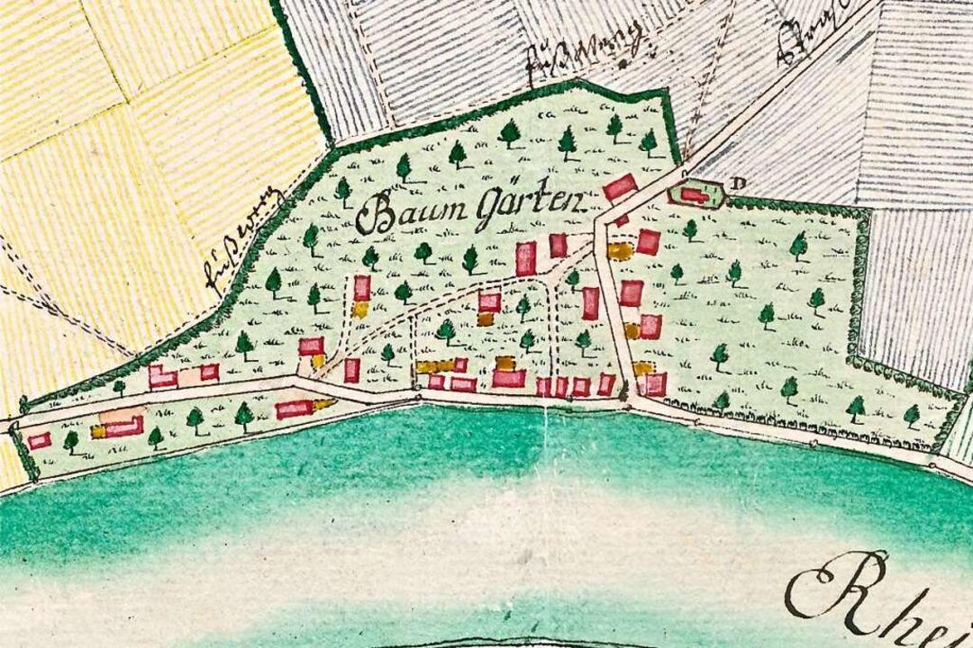 Wallbach auf dem Plan aus dem Jahr 1775. Norden ist auf dieser Karte links.  | Foto: Repro: Richard Kaiser