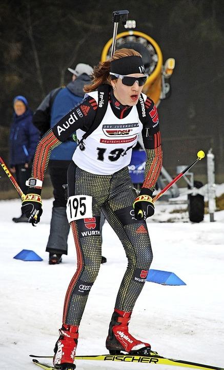 Emilie Behringer feiert ein sensatione...e im Einzel und wird Dritte im Sprint.  | Foto: ruoff