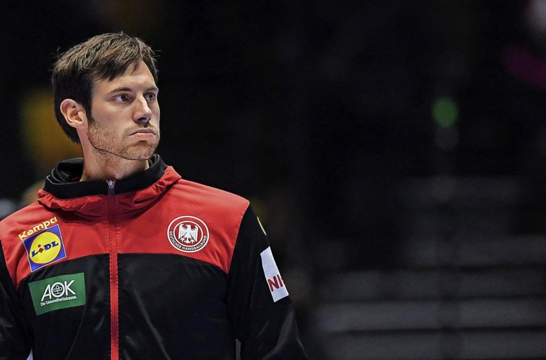 Enttäuscht: Kapitän Uwe Gensheimer nach dem Spiel gegen Spanien  | Foto: Robert Michael (dpa)