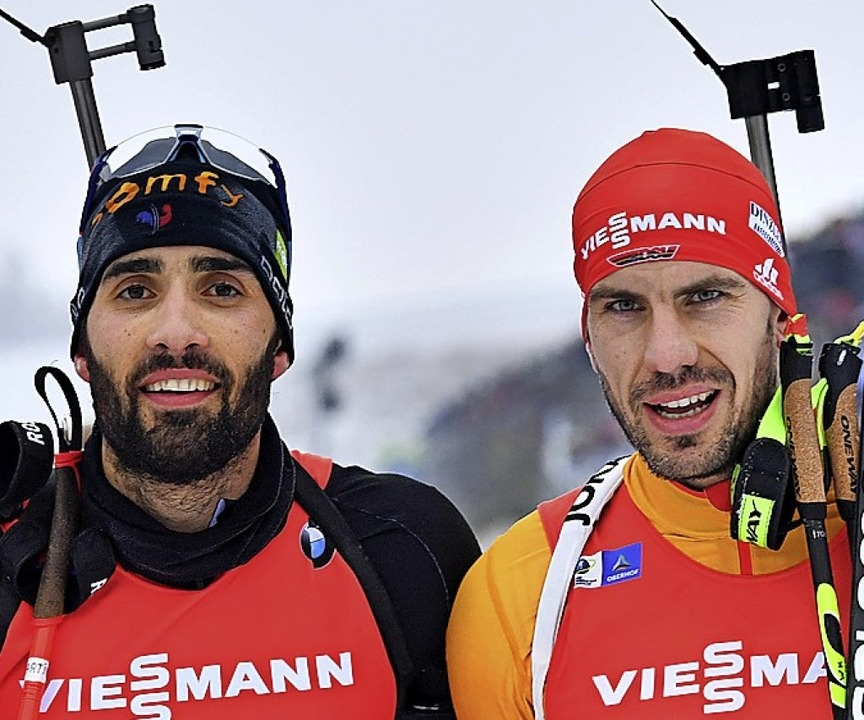 Martin Fourcade (links) und  Arnd Peiffer  | Foto: Martin Schutt (dpa)