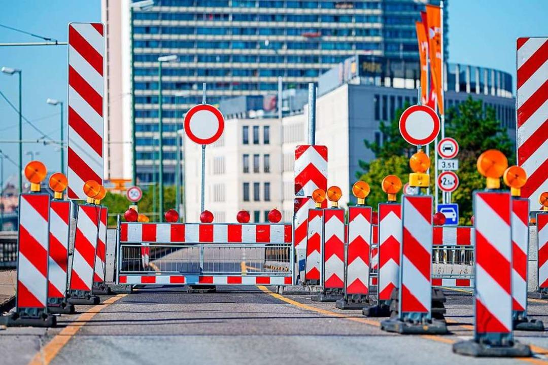 Die gesperrte Hochstraße Süd in Ludwigshafen  | Foto: Uwe Anspach (dpa)