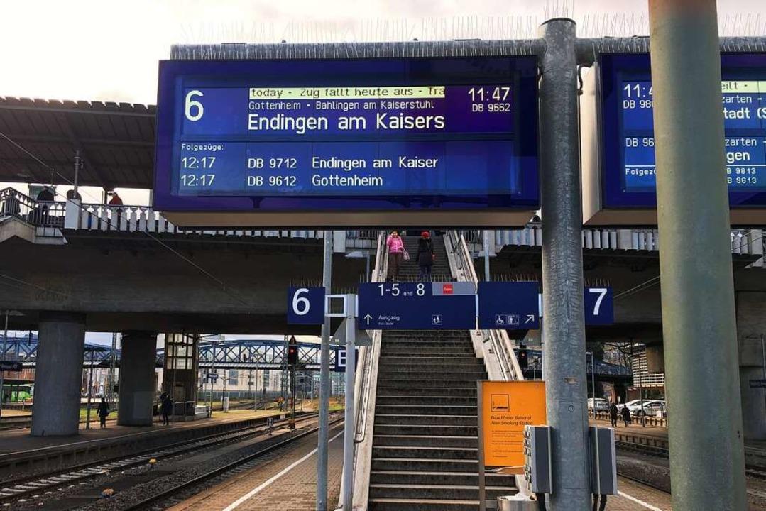 Zugausfall der Breisgau-S-Bahn am Frei... der Anliegergemeinden am Kaiserstuhl.  | Foto: Christoph Giese