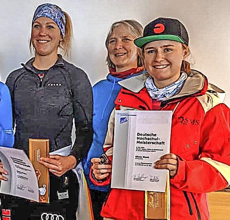Zweimal auf dem Podest bei der Hochsch...und IAR-Fahrerin Olivia Wenk (rechts).  | Foto: Martin Siegmund