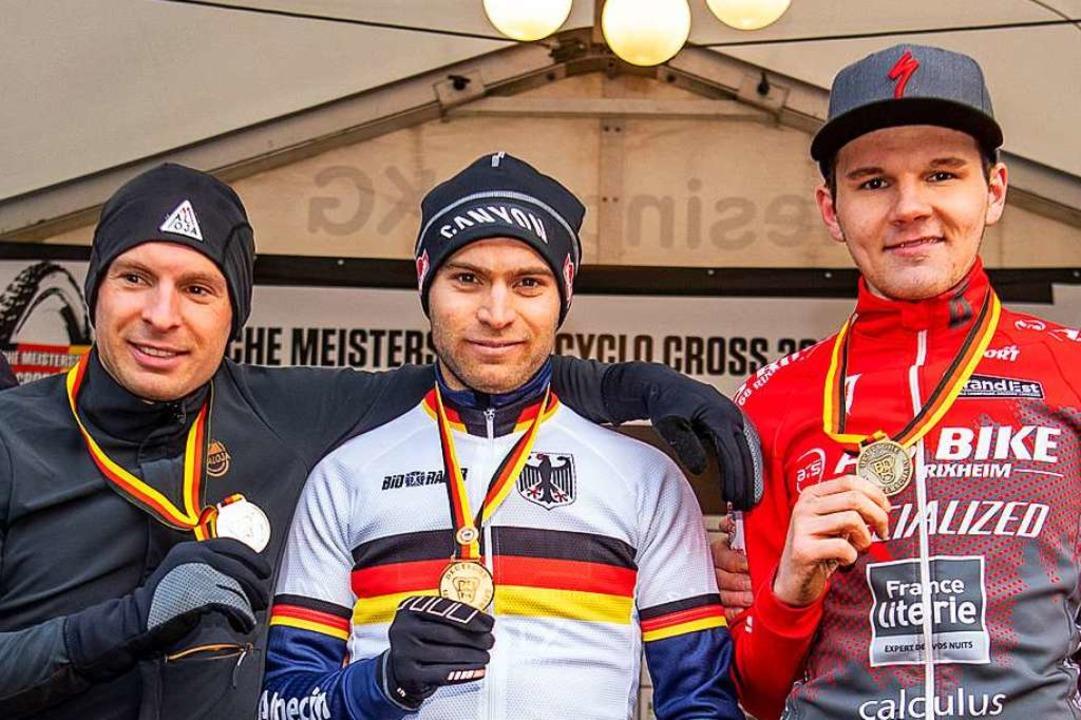 Das Trio auf dem DM-Podest, von links:...Weber, Marcel Meisen und Manuel Müller  | Foto: Armin M. Küstenbrück