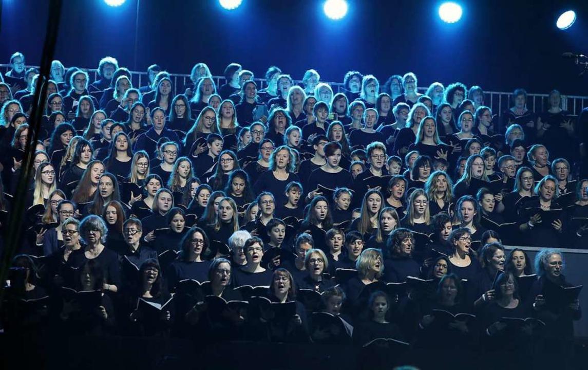 Stimmgewaltig: Mehr als 700 Sängerinnen und Sänger wirkten in Offenburg mit.  | Foto: Christoph Breithaupt