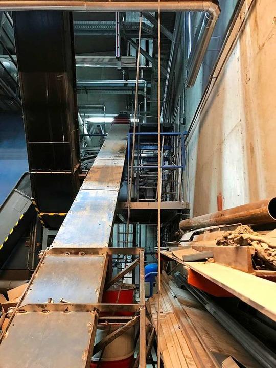 Ein Transportband bringt die Holzhackschnitzel in die Brennkammer.    Foto: Bernhard Amelung
