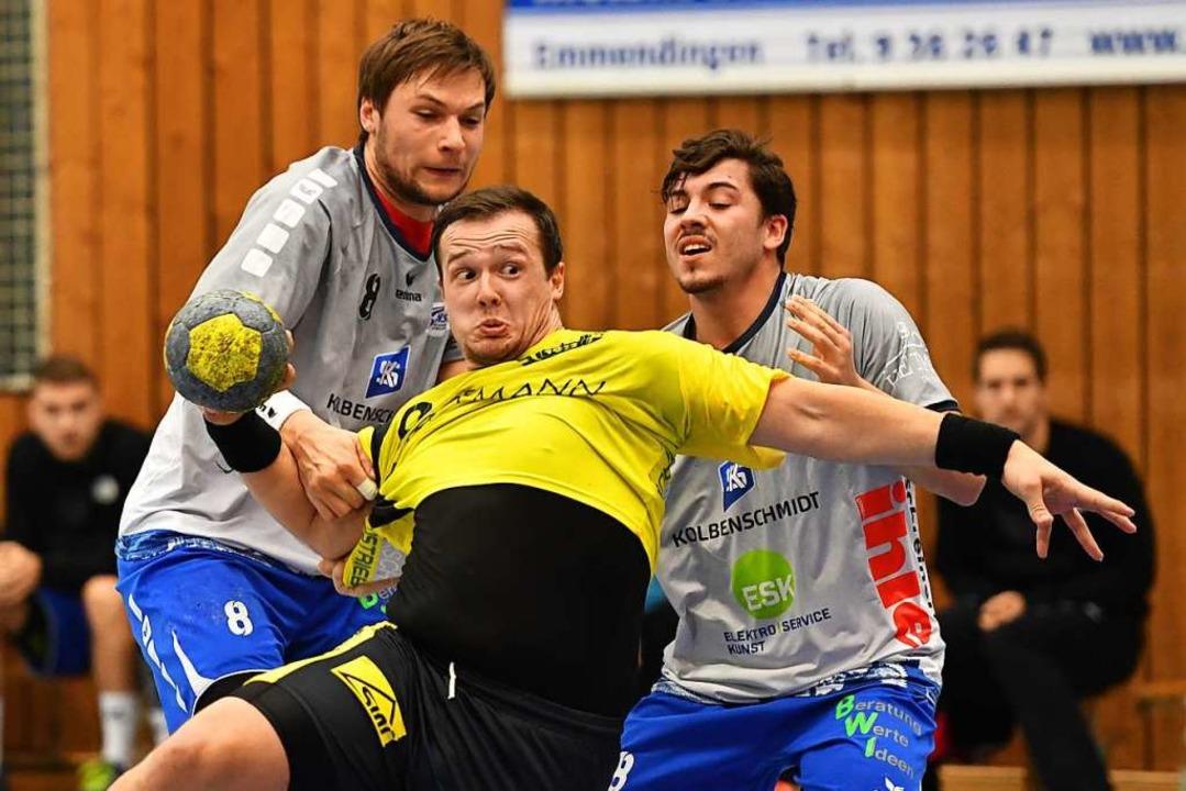 Axel Simak (vorne) hat mit der SG am S...orzheim/Eutingen ist klar favorisiert.  | Foto: Achim Keller