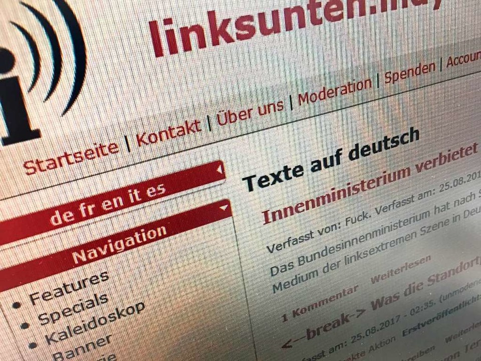 """Die Internetplattform """"linksunten.indymedia"""" ist wieder erreichbar.    Foto: Screenshot"""