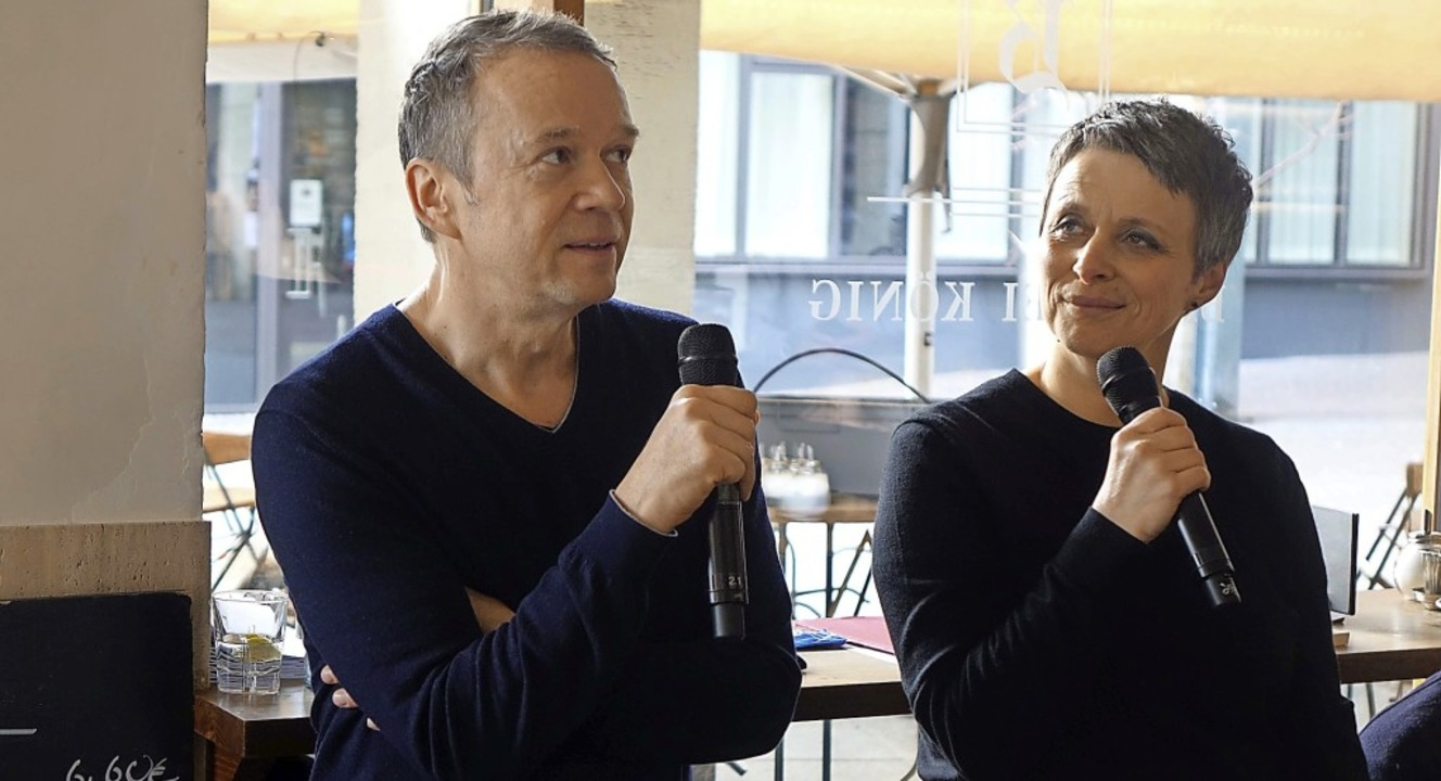 """Mit Malte Preuß sprach Claudia Gabler ...tion """"Die kalte Schulter"""".    Foto: Roswitha Frey"""