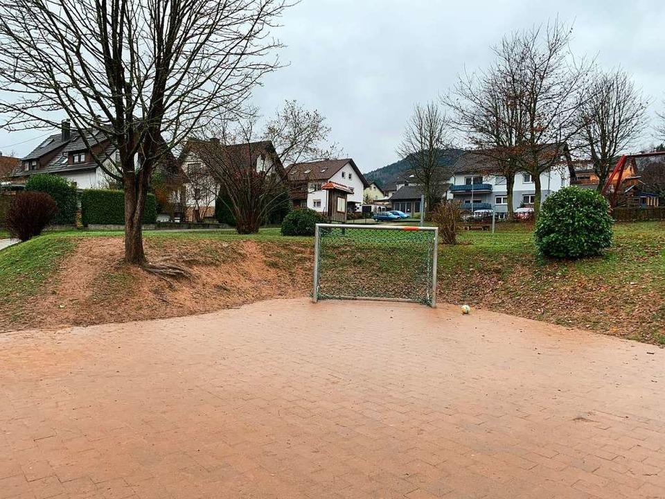 Das Gelände hinter dem Fußballtor soll...ip der Permakultur umgestaltet werden.    Foto: Gemeinde