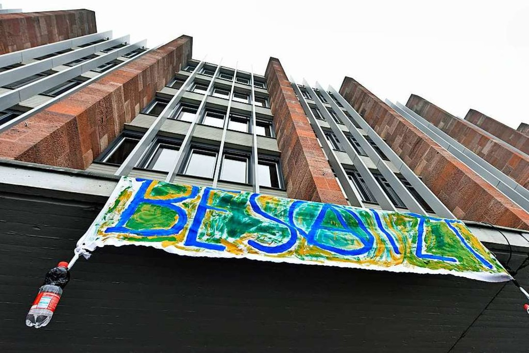 Ein Bündnis besetzt seit Dienstagabend das Audimax der Uni Freiburg.  | Foto: Michael Bamberger