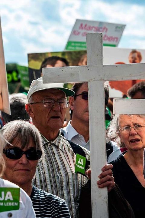 Abtreibungsgegner bei einer Demonstration 2015 in Berlin  | Foto: Paul Zinken