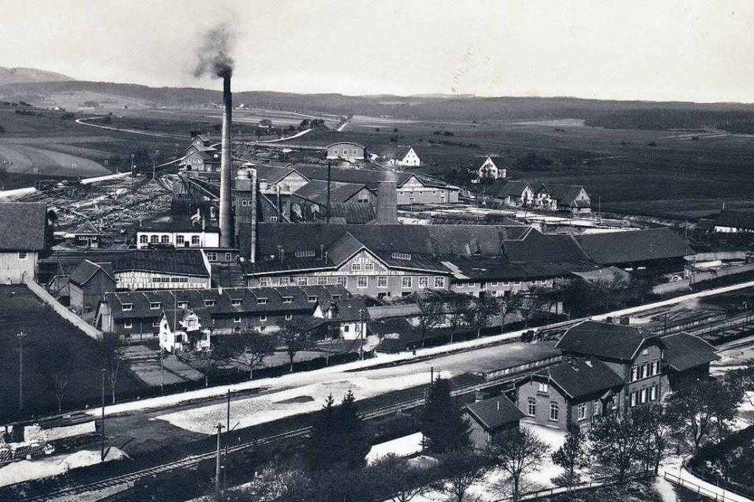 Die Holzindustriewerke Benz vor dem Br... Im Vordergrund der Löffinger Bahnhof.  | Foto: Anton Rebholz