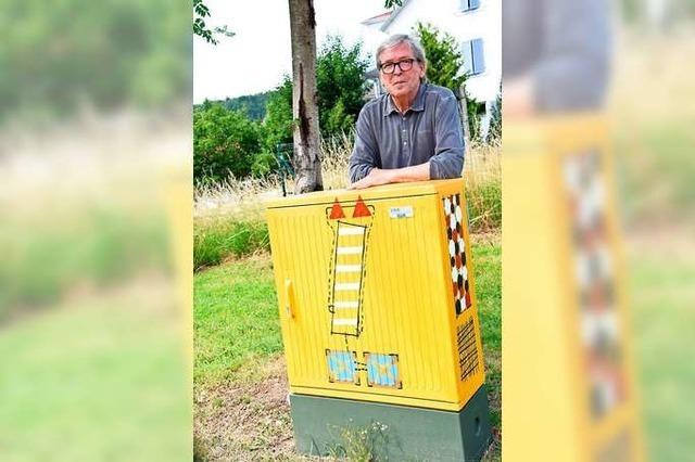 Fotos: Bruno Haas bemalt Stromkästen in Schopfheim