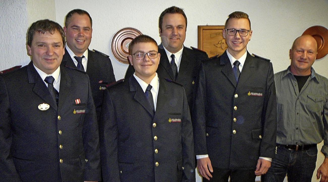 Der stellvertretende Kommandant Armin ...cas Braun und Rene Schmid (von links).  | Foto: Rolf Mück