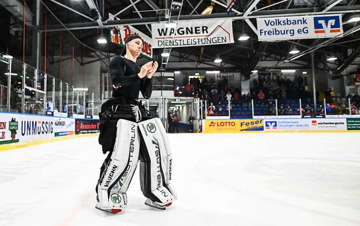 Ben Meisner spielt seit Sommer 2019 beim EHC Freiburg  | Foto: Patrick Seeger