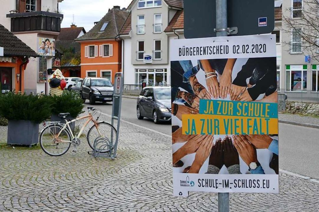 Ein Plakat des Vereins Schule im Schloss  | Foto: Sophia Hesser