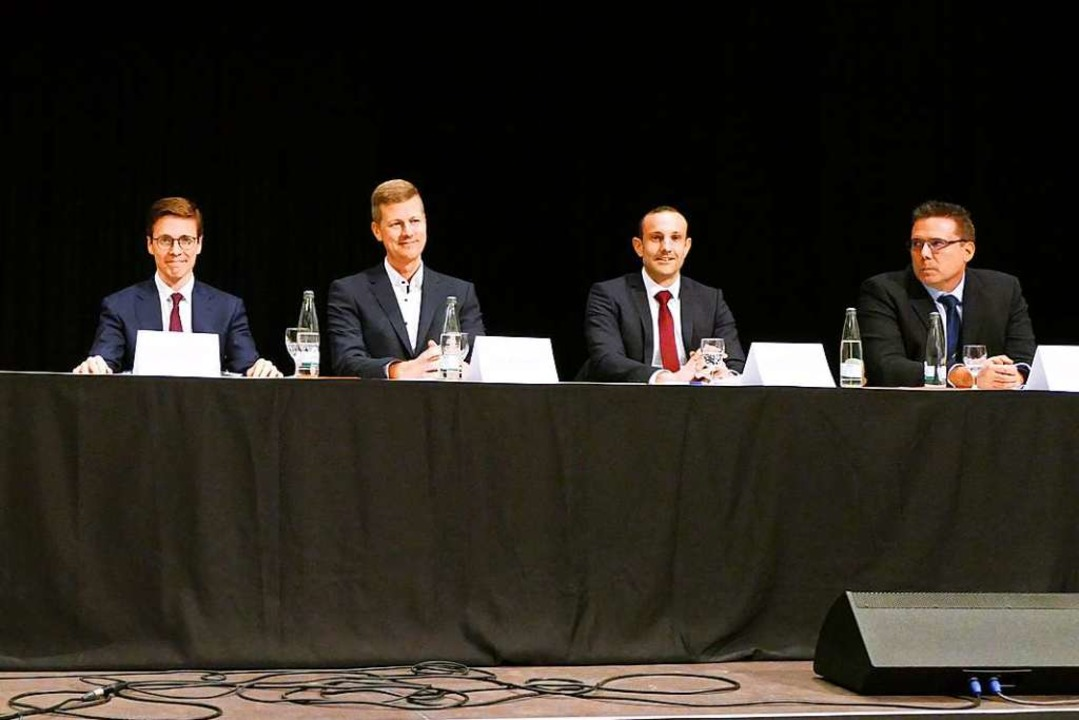 Patrick Thoma (von links), Urs Kramer,...ellen Kandidatenvorstellung der Stadt.  | Foto: Sophia Hesser