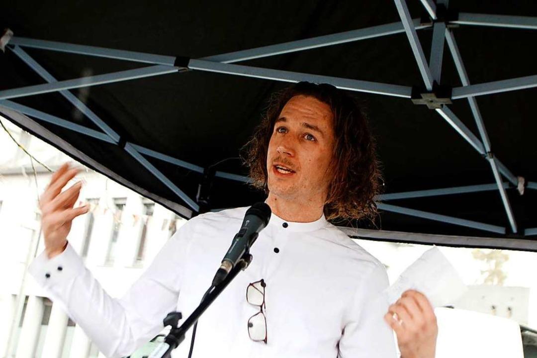 Tobias Pietsch hat die Demo organisiert.  | Foto: Heidi Fößel