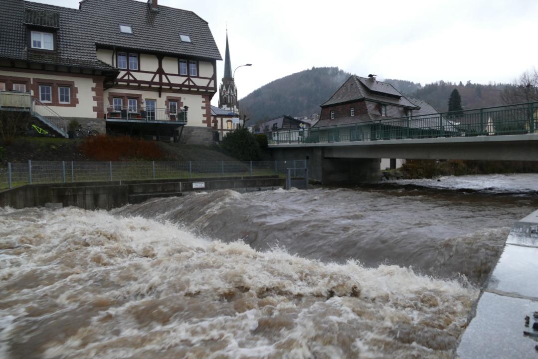Die Wiese im Oberen Wiesental hat Hochwasser.    Foto: Sattelberger