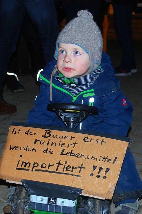 Auch der Nachwuchs protestierte gegen die Landwirtschaftspolitik.  | Foto: Thomas Loisl Mink
