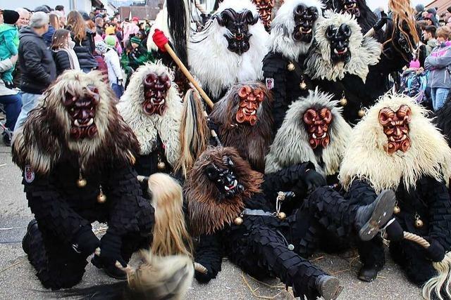Die Bruckwald-Teufel Waldkirch feiern im Narrendorf und mit zwei Umzügen