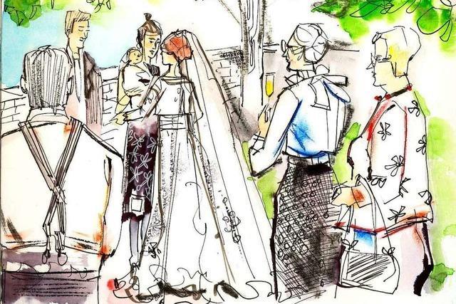 Illustrationen ergänzen Hochzeitsfotos