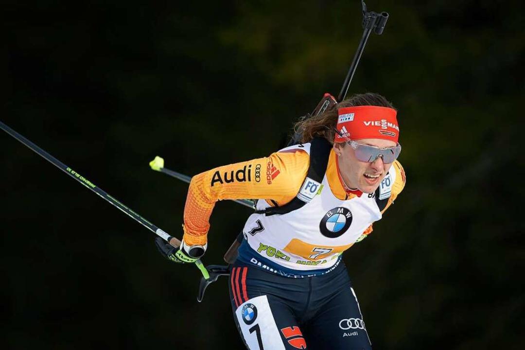 Janina Hettich Ende Januar beim Weltcup im slowenischen  Pokljuka  | Foto: JURE MAKOVEC (AFP)