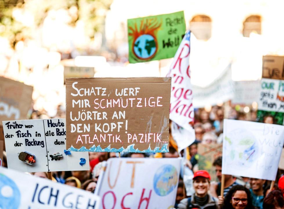 Plastik, schmutzige Meere: Auf Plakate...von Storch kritisiert das Mischmasch.   | Foto: Fabio Smitka