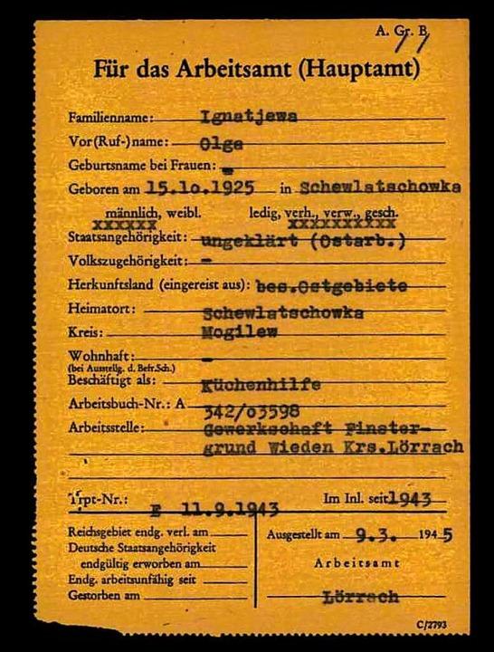 Meldezettel für das Arbeitsamt: Was au...h Kriegsende wurde, ist nicht bekannt.  | Foto: International Tracing Service, Arolsen Archives