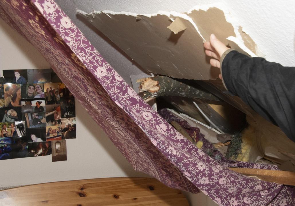 Im Müllheimer Ortsteil Niederweiler st...ohnhauses und landete im Schlafzimmer.  | Foto: Volker Münch