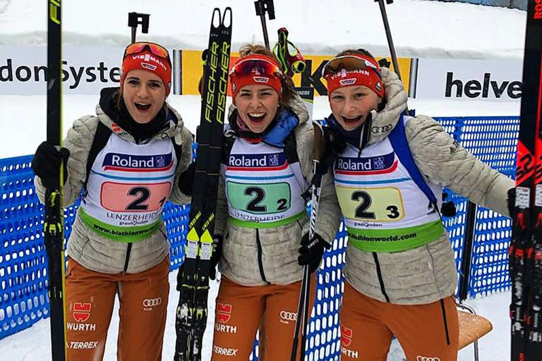 Die Bronze-Staffel (von links): Emilie Behringer, Johanna Puff und Selina Kastl   | Foto: Katharina Blume
