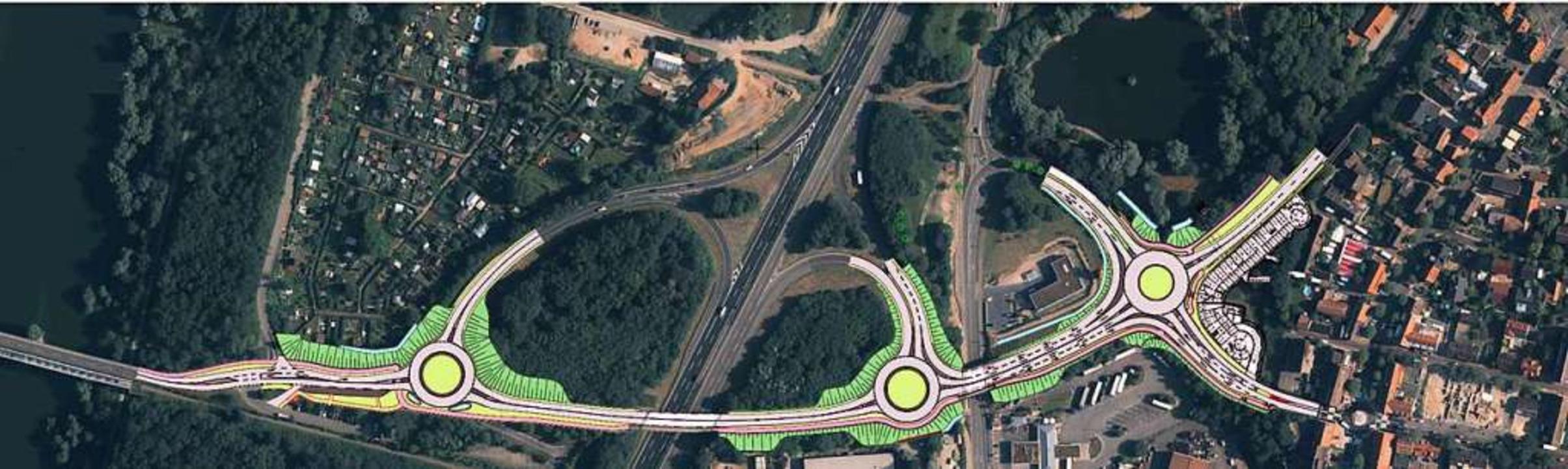 Drei Kreisverkehre entstehen an der A5 bei Neuenburg in den kommenden Monaten.  | Foto: Regierungspräsidium Freiburg